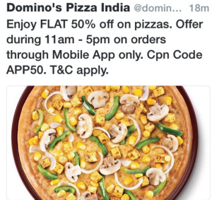 dominos  off on app