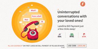 freecharge landline cashback loot offer