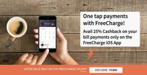 freecharge per cb for ios app on bill payment