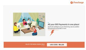 freecharge cb on bill payments of rs BILL