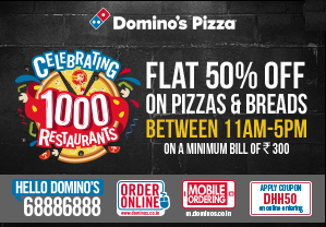 Domino happy hours flat off on orders