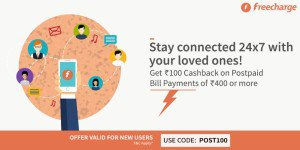 Freecharge Rs  cb on postpaid recharge of Rs