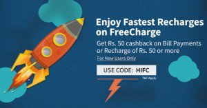 Freecharge Rs  cb on Rs  recharge bill payment