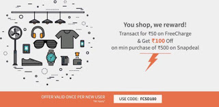 Freecharge snapdeal loot Transact for Rs  on Freecharge Get Coupon worth Rs  off on Min Purchase of Rs