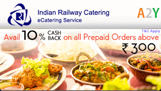 IRCTC catering at  cashback offer