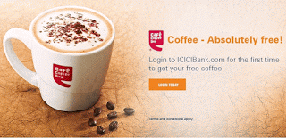 icici bank offer free coffee for icici bank users from ccd