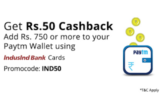 paytm add money offer indusland bank rs free
