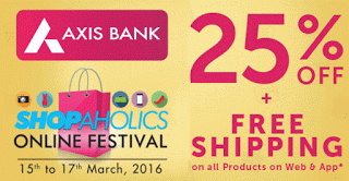 Axis bank  off on zoomin plus free shipping
