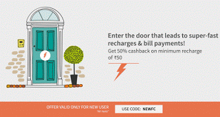 Freecharge  cashback offer on recharges new users