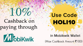 Mobikwik  cashback on payments via mobikwik wallet