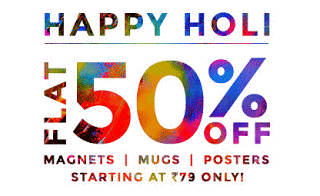Zoomin happy holi sale flat  off on photo gifts