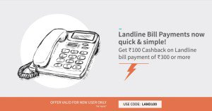 freecharge  cb on  landline bill payment new users