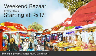 Paytm weekend bazaar Buy any  products in and get flat Rs  cashback free