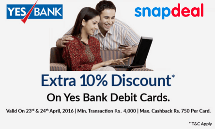 Snapdeal yes bank get  discount on everything