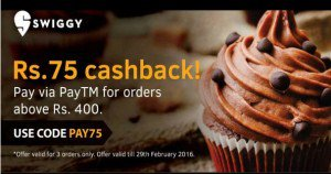 Swiggy Get  cb on orders worth Rs  via Paytm