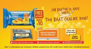 freecharge britania goodday free recharge pack biscuits