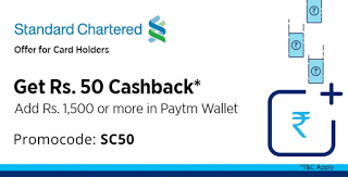 paytm add money standard chatered card offer