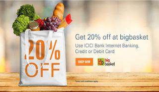 BigBasket get  off via icici bank netbanking
