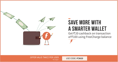 FreeCharge FCW loot rs cashback offer