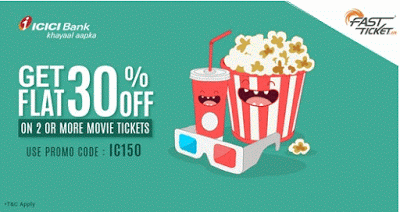 fastticket icici  dicount on movie tickets offer