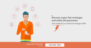 freecharge  cashback on utility bill payments FC loot