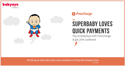 freecharge babyoye  cashback loot offer