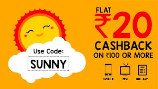 mobikwik rs cashback SUNNY offer recharges