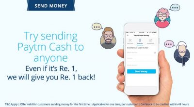 paytm send money and get cashback re offer