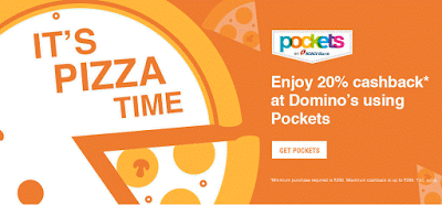 pockets  cashback on dominos pizza