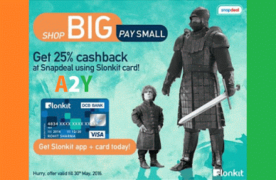 snapdeal  cashback via slonkit cards offer