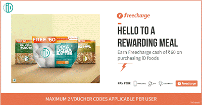 freecharge free rs freecharge credits with id food packs