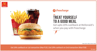 freecharge mcdonalds loot offer  cashback on orders