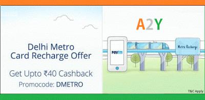 paytm  cashack on delhi metro recharges