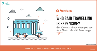 shuttl bus fare loot offer freecharge  cashback