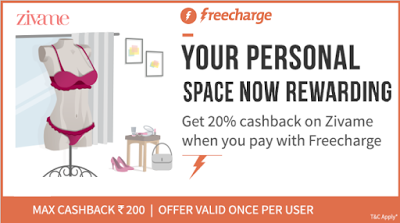 freecharge get  cashback at zivame shopping