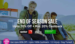 paytm end of season sale upto  off