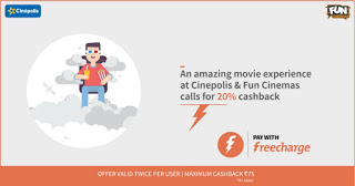 Freecharge Get  cb on paying via FC wallet at Cinepolis and Fun Cinemas looy