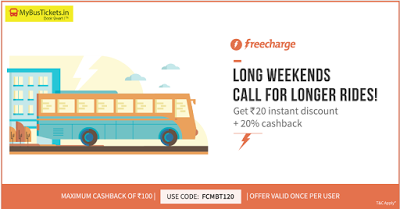 freecharge mybusticket  cashback offer