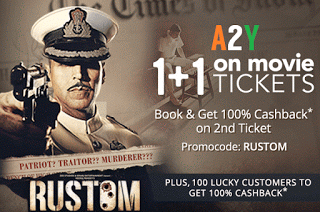paytm movies  cashback on rustom
