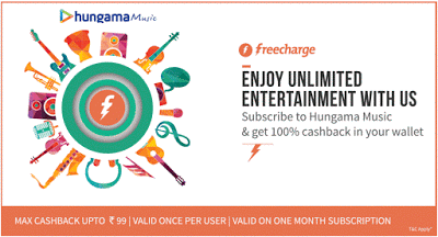 freecharge hungama music  cashback offer