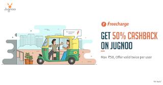 freecharge jugnoo  cashback offer