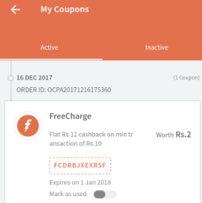Freecharge coupons for today all user
