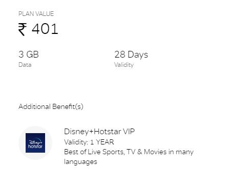 Airtel Prepaid Rs.401 Plan
